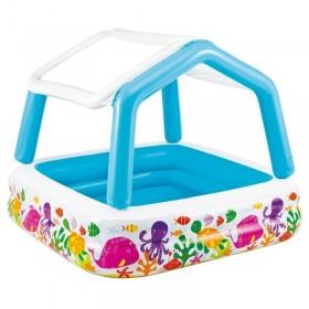 Надувной бассейн для детей с навесом 157х157х122