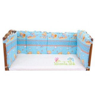 Бампер в кроватку голубой
