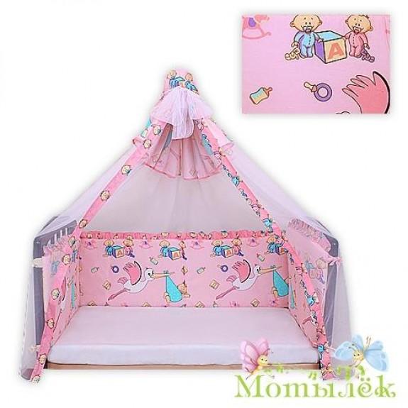 Бампер в кроватку-балдахин вуаль розовый