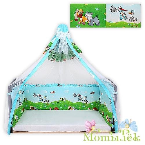 Бампер в кроватку-балдахин вуаль голубой