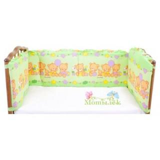 Бампер в кроватку зелёный