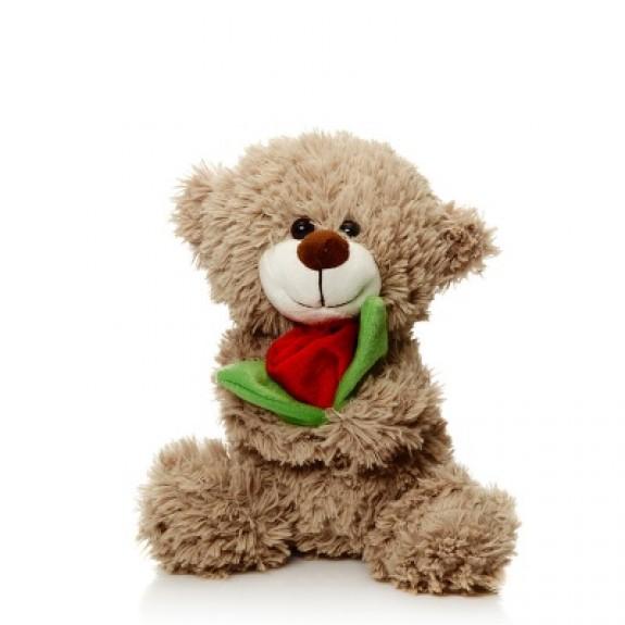 """Мягкая игрушка """"Мишка Арчик с розой"""""""