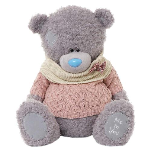 Мягкая игрушка Мишка Тедди Me To You - в розовом свитере и белом воротнике - g01w3274