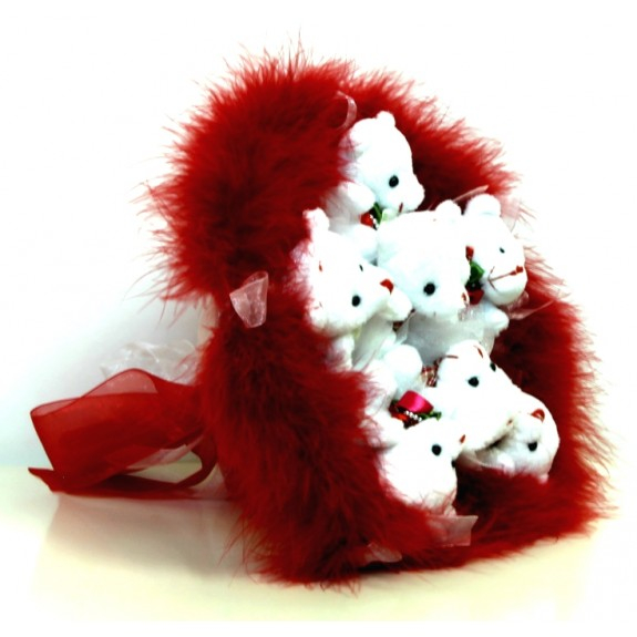 Мягкая игрушка Букет из мягких игрушек Мишки в красном