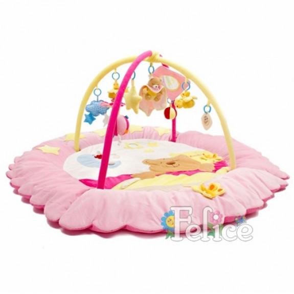 """Детский коврик """"Сонный мишка"""" розовый"""