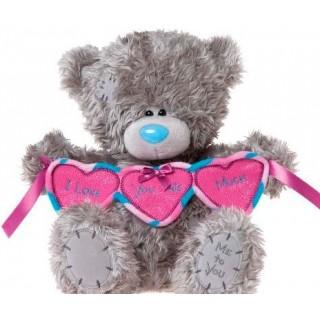 "Мягкая игрушка Медведь ""Me to You"" держит гирлянду сердечек I love you this much"